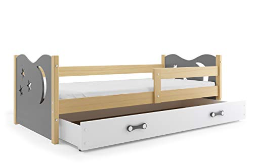 Interbeds Children's single bed NIKO 160 x 80 pine + variations, colored tops, drawer, wooden slatted base, without mattress (Grey)