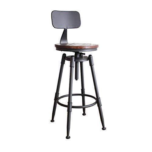Verstellbare Höhe Drehbare Barhocker Counter Height Hocker Massivholzsitz und Metallfuß Hochstuhl für Küche, Bistro, Kaffee, Pub