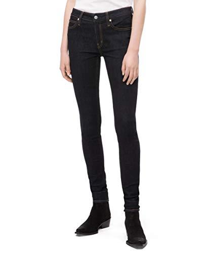 Calvin Klein Women's Mid Rise Super Skinny Fit Jeans, Malibu blue rinse, 30W X 28L