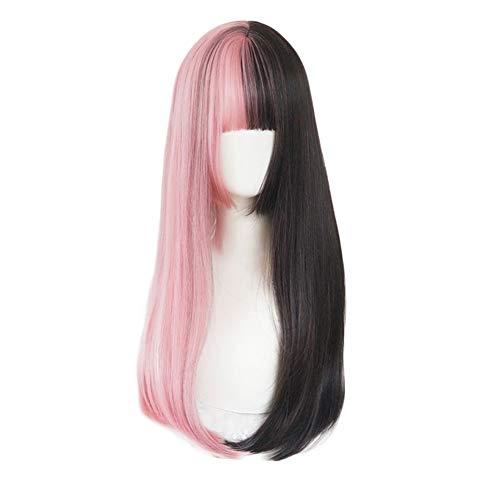 Perücke Lolita Langes Glattes Haar Schwarzes Rosa Gothic Natürlich Realistisch Täglich Cosplay Maskerade Party Pink-Black