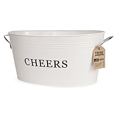 Twine Rustic Farmhouse Cheers Drink Tub Large Galvanized Metal Drink Tub (6.3 gal.)