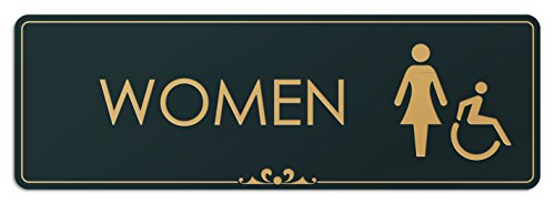 """Price comparison product image Women - Laser Engraved Sign - 3""""x9"""" - .050 Black and Gold Plastic"""