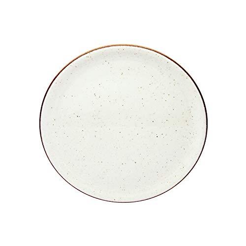 CreaTable Vintage Nature Pizzateller 30,5cm Porzellan, handgemalt, gesprenkelt, weiß