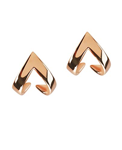 Silver Roots Rose Gold-plated Sterling Silver Minimalistic Ascending Delta Armor Jacket Earrings