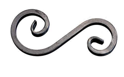 UHRIG ® S Schnörkel Bogen Schnecke schmiedeeisen aus Vierkantstahl 12x12mm geschmiedet Eisen-Kunst Zierelement für Zaun Geländer (250x127mm)