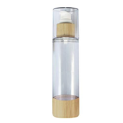 VOSAREA Bouteille de Pompe Rechargeable Bouteille de Maquillage Portable Bouteille de Voyage en Bambou pour Parfum cosmétique 100 ML