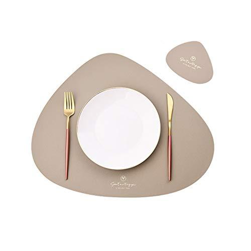 4er Set/6er Set Platzsets und Untersetzer Dreieck Oval Leder Tischset Wassertropfen Abwischbar Tischmatte Wasserdicht ölbeständig Rutschfestes Hitzebeständiges Platzsets (Beige,4er)