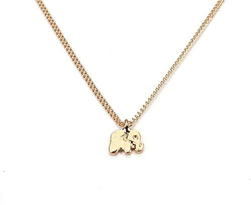 MNMXW Collar con Colgantes de Elefante HombreGargantilla de Cadena Chapada en Oro en Bolsa de Organza (Elefante Dorado)