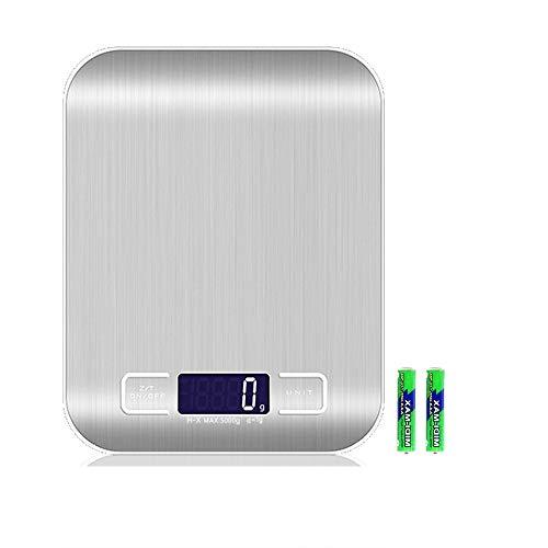 YISUYA Báscula de cocina digital profesional electrónica, báscula electrónica con panel grande de 18 x 14 cm, peso máximo de 5 kg, con función de tara y pantalla LCD iluminada (blanco)