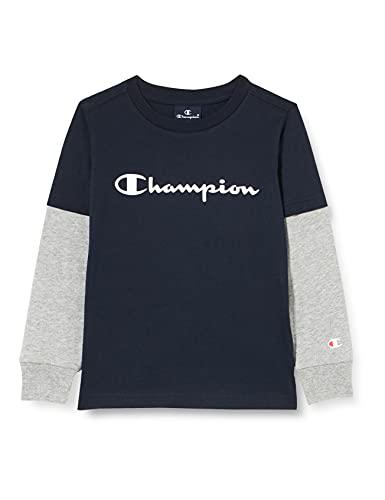Champion American Classics Overlay Long Sleeve T-Shirt, Bleu Marine, 14 Anni Bambina