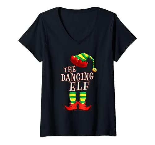 Mujer Pijama familiar de The Dancing Elf Squad PJ Christmas Matching Camiseta Cuello V