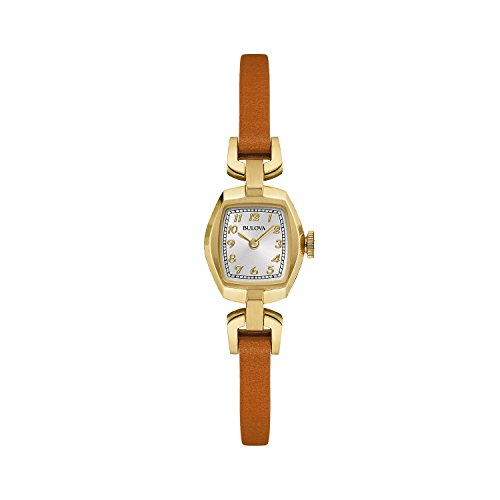 Bulova Heritage Dress 97L153 - Orologio design con cinturino in pelle - donna - marrone/dorato