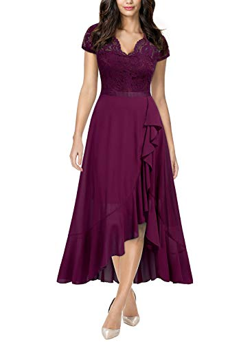 Miusol Women's Formal Floral Lace Ruffle Cocktail Party Dress,Small,A-Magenta