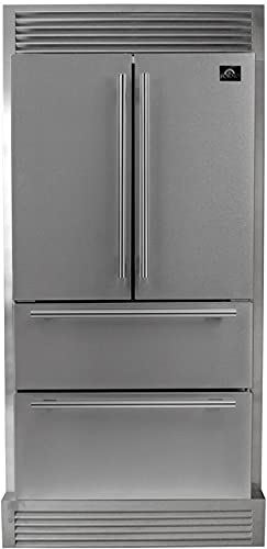 """FFRBI182040SG 36"""" Counter Depth French Door Refrigerator with 19.26"""" Total Capacity, 2 Glass Shelves, 7.14"""" Freezer Capacity, Crisper Drawer, in Stainless Steel"""