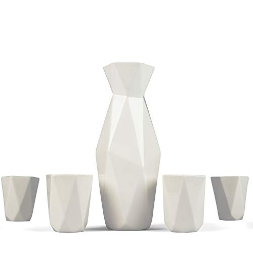 5 Piece Traditional Japanese Sake Set, 1 Tokkuri Bottle and 4 Ochko Cups, White - Unique Custom Modern Design