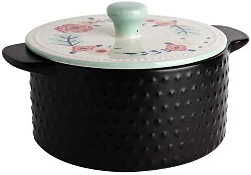 XHCP Casserole en céramique, marmite à Haute résistance à Haute température avec Couvercle, Bol coréen en Pierre en céramique, cocotte Pot en Terre Noir A 1,7 Quart