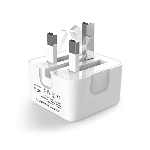 USB Plug Charger, USB Wall Chargers Mains Charger Adapter, Foldable Universal Phone Plug, UK 3 Pin USB Power Plug, 2.4A Output Compatible with iPhone, iPad, iPod Huawei Samsung Galaxy, Tablet (1 Pack)