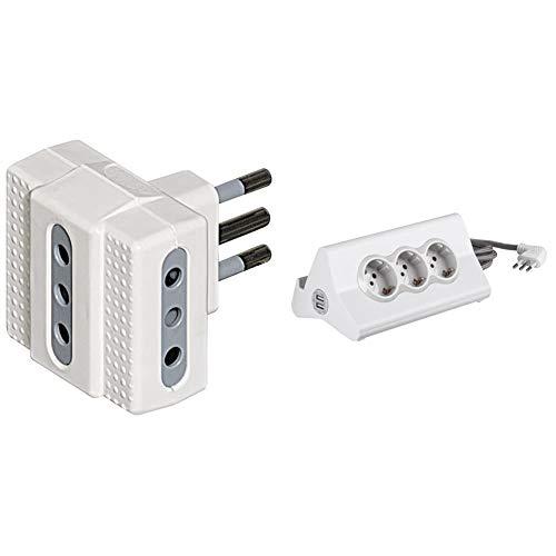 BTicino S3603D Presa Tripla, Bianco + S3713DBU Multipresa hi-tech con 3 prese standard 10A/16A tipo P30 250 V, 2 prese USB (1 USB Carica rapida 5 V 2.4 A max, 1 USB 5 V 1.5 A max), Cavo 2 m, Bianco