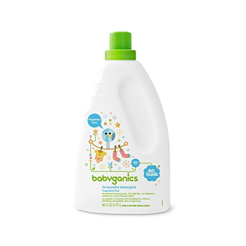 Babyganics Liquid Baby Laundry Detergent, Fragrance Free, 3X Concentrated, 60...