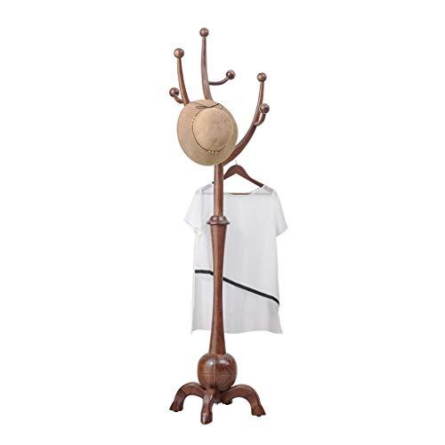 Perchero de Pie Escudo rama creativa del estante de madera Percha Europea piso dormitorio principal de madera maciza de árbol perchero base de cuatro pies perchero Percheros ( Color : Light walnut )