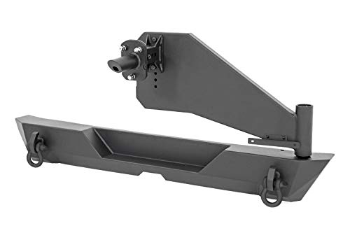 Rough Country Rear Offroad Bumper Tire Carrier (fits) 2018-2020 Jeep Wrangler JL | D-Rings Rock Crawling | 10598