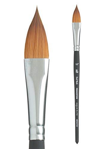 Princeton Aqua Elite, Series 4850, Synthetic Kolinsky Watercolor Paint Brush,Oval Wash, 1/2
