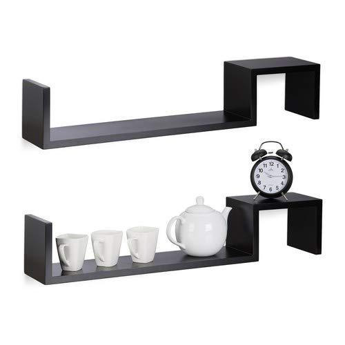 Relaxdays Hangkast, set van 2, houten rek om op te hangen, onzichtbare bevestiging, boekenkast, MDF, h x b x d: 15 x 80 x 15 cm, zwart