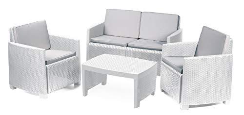 IPAE-PROGARDEN Set da Giardino 1 Divano 2 Sedie 1 Tavolino con Cuscini Bianco - Modello Lipari