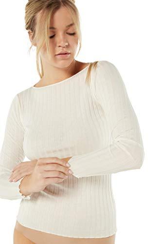 Intimissimi Damen Figurbetontes Langarmshirt aus Baumwolle/Seide mit U-Boot-Ausschnitt