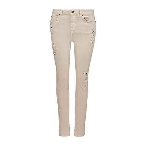 Monari Damen Jeans 804948 182 schmaler Beinverlauf Stretch 5-Pocket-Form beige, Groesse 40, beige denim