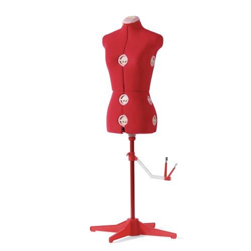 SINGER 12-Dial Fabric-Backed Medium Adjustable Dress Form, Red