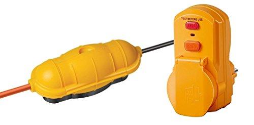 Brennenstuhl Safe Set: Safe-Box Schutzkapsel für Kabel BIG IP44 outdoor gelb, 1160440 und Brennenstuhl Personenschutz-Adapter BDI-A 30 IP54, 1290630
