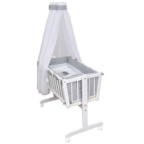 Baby Delux Wiegenset Bettwäsche Set 6-tlg Wiegengarnitur für Babywiege Ausstattung 40x90 Loving Bears