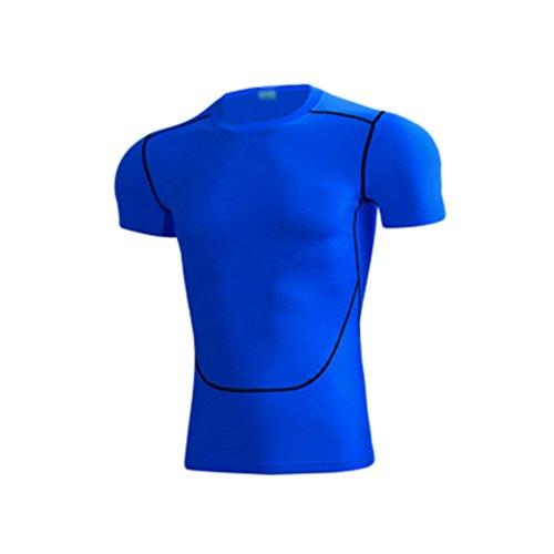 Dooxii Hombre Manga Corta Secado Rápido Entrenamiento Camiseta Transpirable Fitness Músculo Top Camisetas Azul 3XL