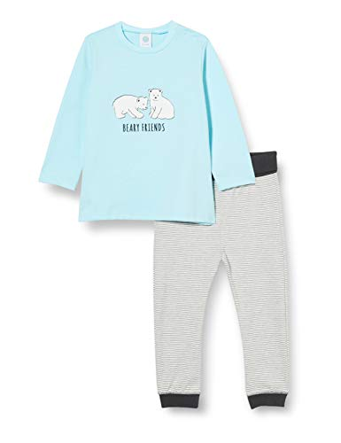 Sanetta Baby-Jungen New Angel Hellblauer Schlafanzug mit feiner Ringelhose und einem Eisbären Artwork auf dem Oberteil, blau, 098