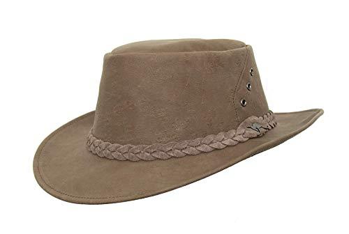 Sombrero de viaje australiano de piel de canguro curtida de forma natural en color marrón claro. marrón claro L