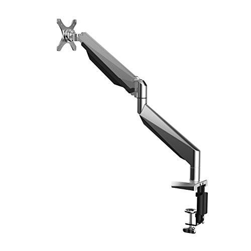 eSmart Germany Designer monitorhouder met gasdrukveer en hub voor USB, koptelefoon en microfoon | Monitor tafelmontage draaibaar, kantelbaar, alleen zwenkbaar met de kracht van een vinger voor monitoren tot 25 - 76 cm (10