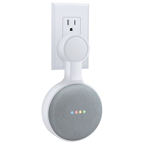 AMORTEK Outlet Wall Mount Holder for Google Home Mini, A Space-Saving Accessories for Google Home Mini Voice Assistant (White)