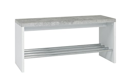 HAKU Möbel 95630 Bank, Metall, Betonoptik-weiß-chrom, 81 x 30 x 40