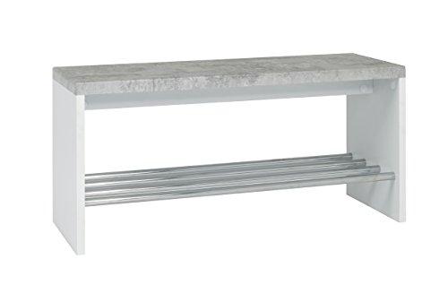 Haku Möbel Panca, Calcestruzzo Ottico/Bianco/Cromo, 30 x 81 x 40 cm