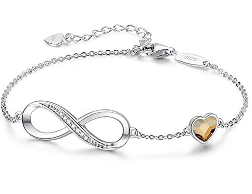 Beforya Paris – Golden Shadow – Pulsera para mujer con corazón – Plata 925 – Bonita pulsera brillante con corazón de cristal – Pulsera para mujer elegante caja de regalo