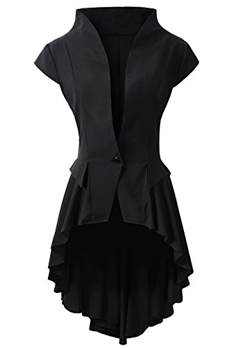 Womens Gothic Steampunk Tail Vamp Long Victorian Waterfall Waistcoat Jacket Top (US10, Black)