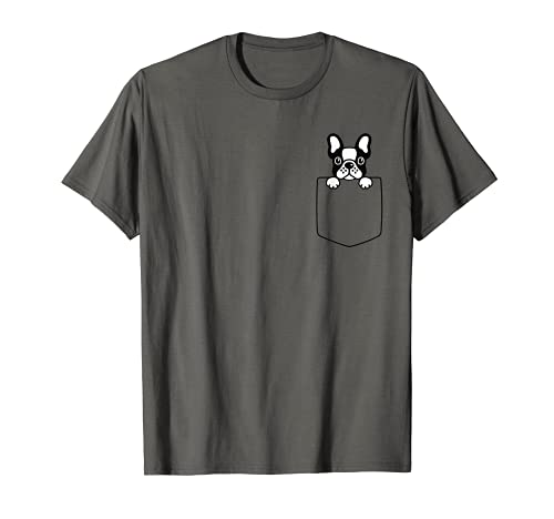 Cute Pied French Bulldog Dog In Pocket Dogs Lover Pet Owner T-Shirt