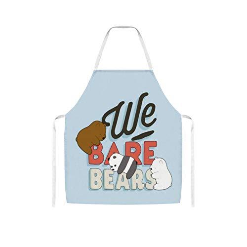 Nuberyl Delantal de lana de oso marrn con diseo de panda Ba-re (1) delantal impermeable y cmodo para adultos para mujeres, hombres, cocinero, esposa, cocina
