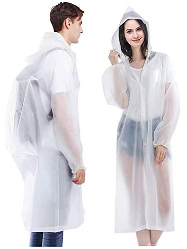 Ahsado 2 pezzi poncho antipioggia giacca antipioggia Eva impermeabile unisex riutilizzabile impermeabile impermeabile traspirante portatile mantella antipioggia (bianco)