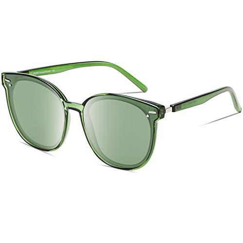 DUCO Vintage Runde Polarisierte Retro Sonnenbrille für Frauen UV-Schutz W017 (Grün)