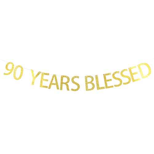 INNORU 90 Years Blessed Banner Gold Glitter Sign - 90th Birthday Wedding Anniversary Party Decoraciones Suministros