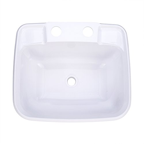 RecPro Rectangle RV Bathroom Sink | White | Single Bowl Lavatory Sink | Camper Sink | Plastic