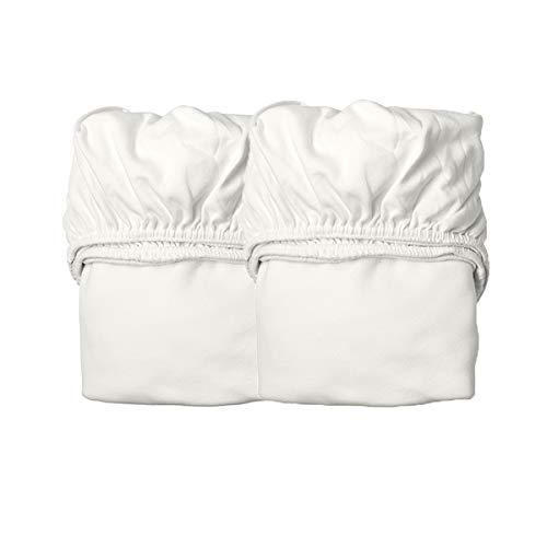 Leander Laken/Spannbetttücher - 2 Stück für Leander Babybett + Linea Babybett + Luna Babybett 120x60cm - Farbe: snow