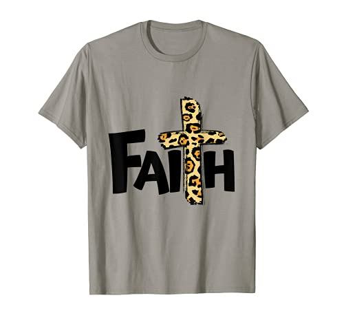 Faith Leopard Print Kreuz T-Shirt